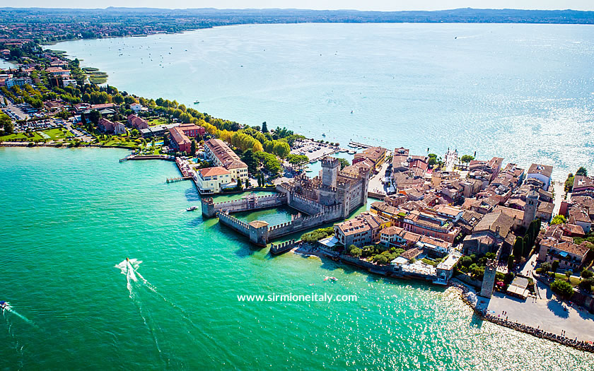 An aerial view of Sirmione and the southern end of Lake Garda